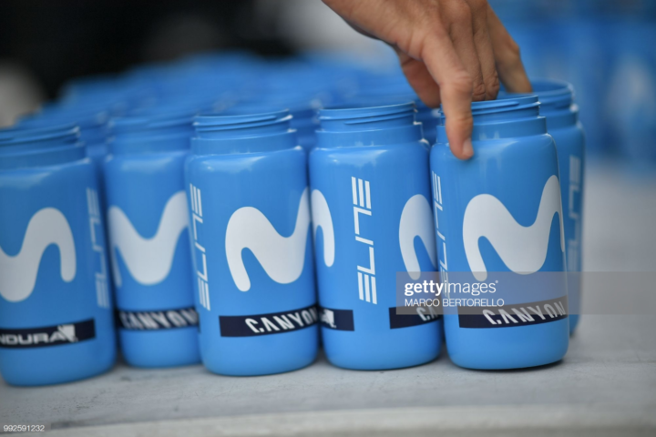 Movistar cycling water bottles