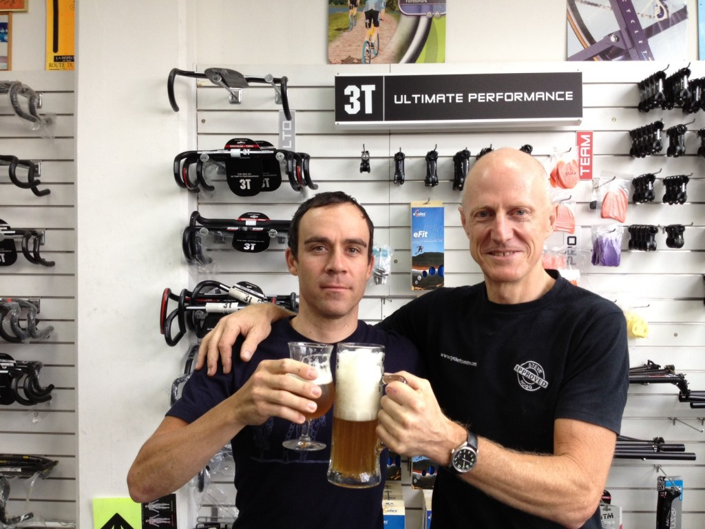 Colby Pearce with bike fitter, Steve Hoggs