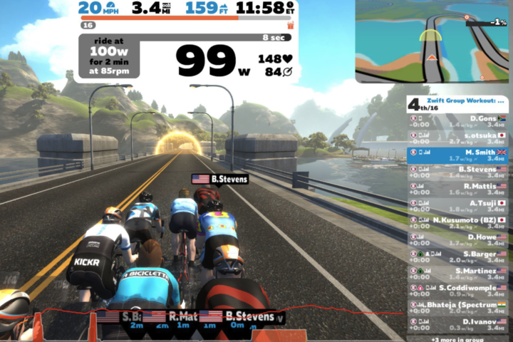 Zwift racing power test