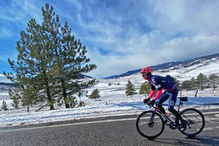 Lachlan Morton riding in the snow