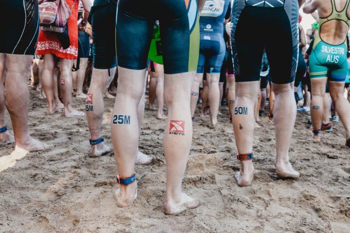 legs of triathletes